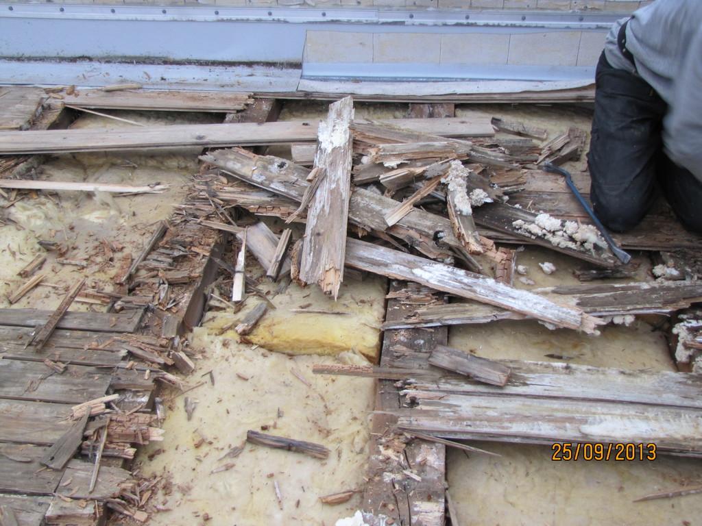 durch Schwamm beschädigtes Dach